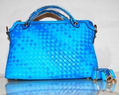 Сумка плетеная голубая