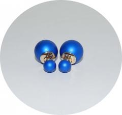 Серьги шарики голубые матовые