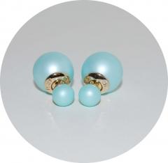 Серьги шарики матовые голубые