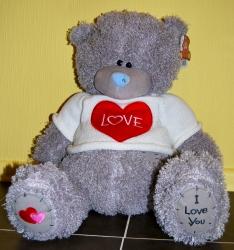 Мишка Тедди в белом свитере 43 см
