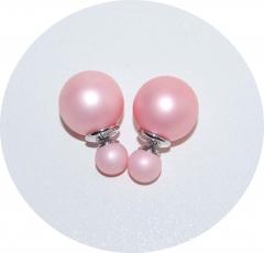 Серьги Диор шарики матовые розовые