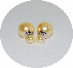 Пусеты шарики Dior жемчужные желтые