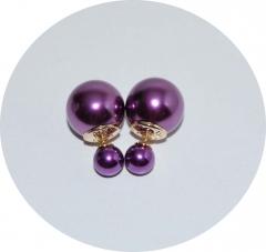 Пусеты шарики Dior жемчужные малиновые