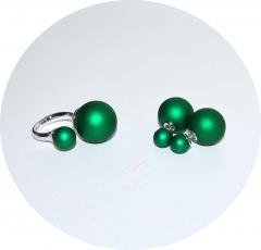 Комплект пусеты и кольцо зеленый перламутр