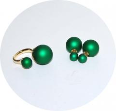 Комплект в стиле Диор зеленый перламутр