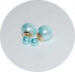 Пусеты шарики Dior жемчужные голубые
