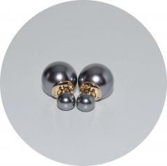 Серьги шарики серые жемчужные