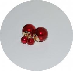 Серьги шарики бордовые жемчужные