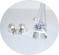 Комплект жемчужный с цирконом
