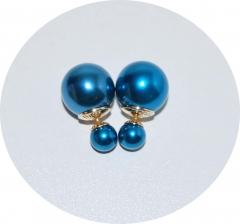 Пусеты шарики Dior жемчужные синие