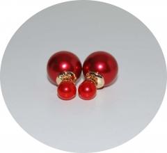 Серьги шарики красные жемчужные