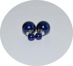 Серьги шарики темно синие жемчужные