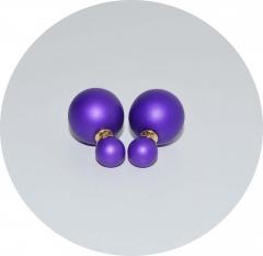 Серьги шарики фиолетовые матовые