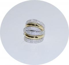 Кольцо в стиле De Grisogono с позолотой