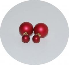 Серьги Диор шарики матовые красные