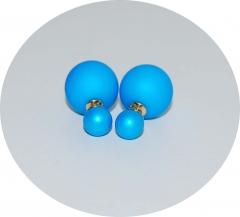 Серьги шарики Диор голубые матовые