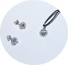 Кулон и пусеты серебряные