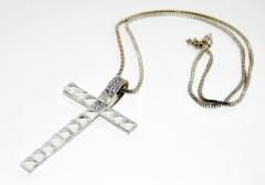 Колье Крест серебряный