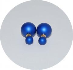 Серьги шарики матовые синие