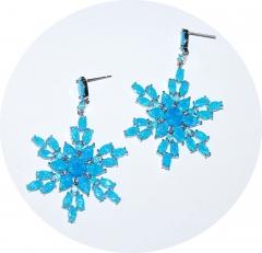 Серьги снежинки голубые