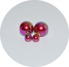 Серьги Диор шарики малиновые