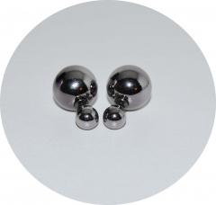 Серьги шарики зеркальные серые