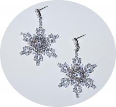 Серьги снежинки из камней