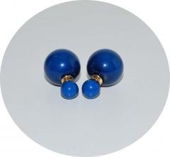 Серьги шарики синие