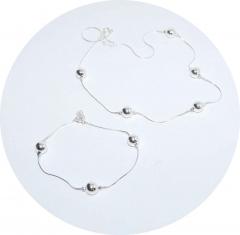 Цепочка и браслет из серебра с шариками