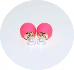 Пусеты Диор розовый матовый и жемчуг