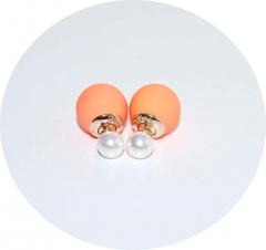 Пусеты Диор оранжевый матовый и жемчуг