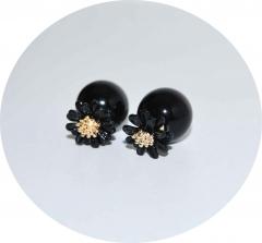 Серьги Dior Цветочек черные