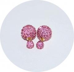 Пусеты Диор из камней розовые
