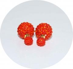 Пусеты Диор из камней оранжевые