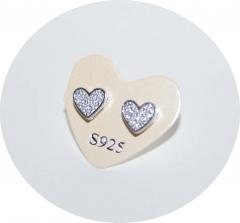 Сережки гвоздики Сердечки