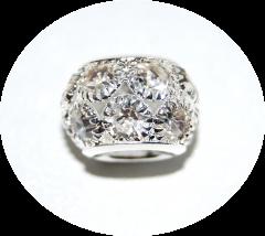 Шарм с камнями крупный серебряный