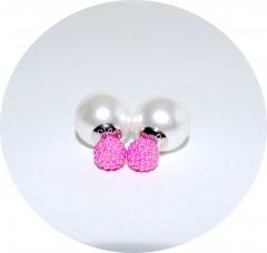 Серьги Dior бусинки розовые 925