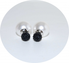 Серьги Dior бусинки черные 925