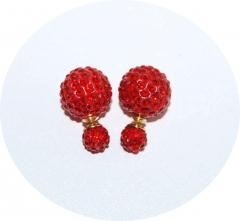 Пусеты Диор из камней красные