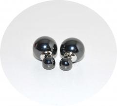 Серьги Dior зеркальные черные 925