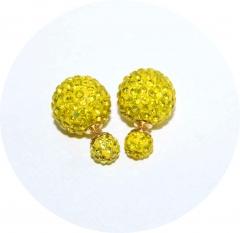 Пусеты Диор из камней желтые