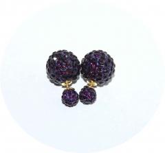 Пусеты Диор из камней темно фиолетовые