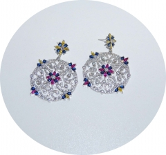 Серьги в стиле D&G с розовыми камнями