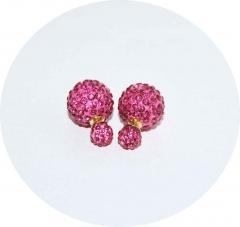 Пусеты Диор розовые из камней