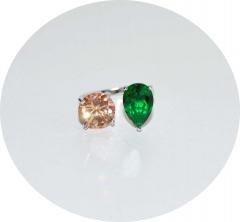 Кольцо с желтым и зеленым камнем