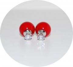 Серьги Dior с цирконом красные 925