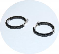 Серьги кольца черные