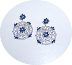 Серьги в стиле D&G с синими камнями