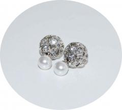 Серьги Dior стразы и жемчуг серебряные