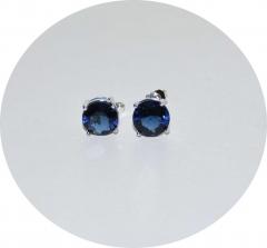 Серьги гвоздики синие